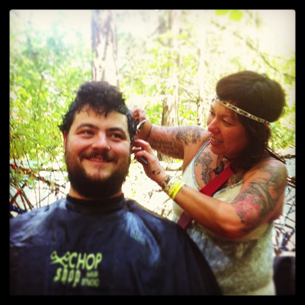 HAIRCUT IN THE WOODS #GWIN got what I need!!!